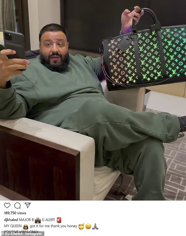 BIG BAG: DJ Khaled thanked his wife for gifting the bag on Instagram