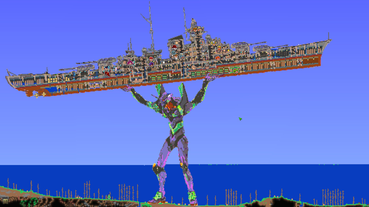Someone converted a map of Terraria into an Evangelion carrying a warship