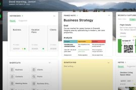 The Evernote Home feature is a dashboard packed with useful tools